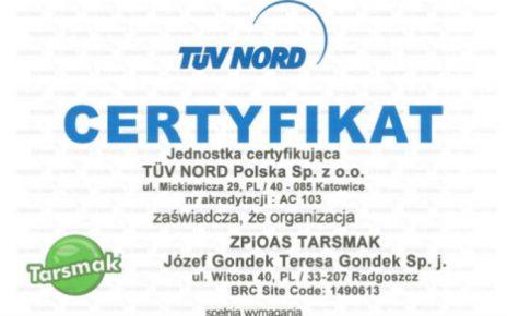 Firma Tarsmak z prestiżowym certyfikatem BRC