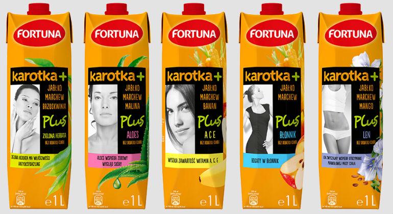 Nowe opakowania soków Karotka Plus